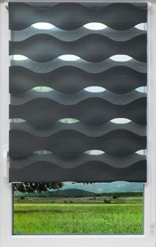 sunlines Welle Klemmfix, grau, 120 x 150 Doppelrollo, PES, 120 x 150cm