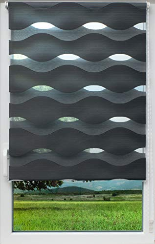 sunlines Welle Klemmfix, grau, 60 x 150 Doppelrollo, PES, 60 x 150cm