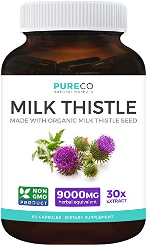 POWERFUL ORGANIC MILK THISTLE (80% SILYMARIN): Super-concentrated 30:1 Milk Thistle Seed equivalent of 9,000mg Milk thistle Herbs for ultimate Liver Health. Your liver is your body's filter, so it makes sense to do everything you can to help it do it...