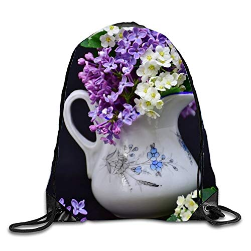 Lawenp Purple Hyacinth Sackpack Mochila con cordón Mochila Impermeable Gymsack Daypack para Hombres Mujeres