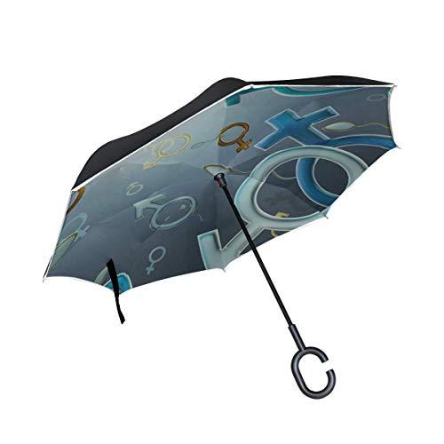 Zeichen-Symbol-Zahl Weißer Frauen-Mann-umgekehrter Regenschirm-großer Doppelschicht-Regen im Freien Sun-Auto-Umkehrschirm