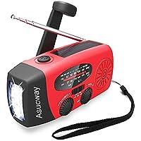 Asucway Emergency Hand Crank AM/FM Solar Weather Radio w/LED Flashlight