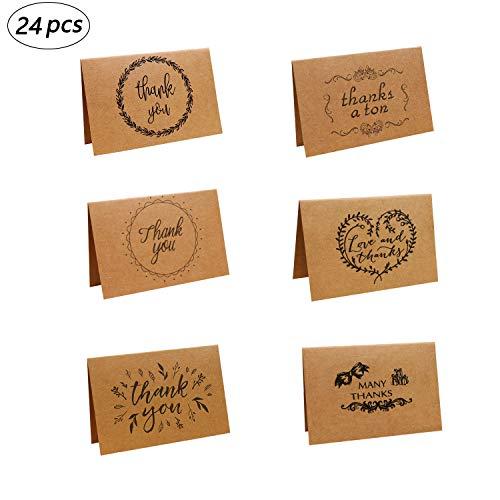 24 Pack Dankeskarten, Thank You Karten, 6 Stilentwürfe, Grußkarten W/ 24 Karton Umschläge für Hochzeit, Schulabschluss, Baby-Dusche, Jahrestag, Segen des Neuen Jahres, 10X15 cm
