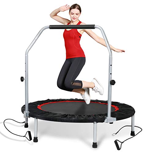 Lovinouse 40 Inch Foldable Mini Trampoline, Fitness Rebounder with Resistance Bands, Adjustable Foam Handle Exercise Trampoline Already Assembled (Black, Red)