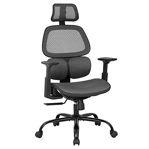 Office Chair Desk Chair,Computer Chair with Arms Lumbar Support Swivel Rolling Ergonomic High Back Mesh Task Chair for Men,Grey