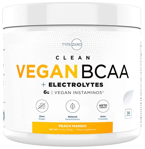 Ultra Clean Vegan BCAA Powder + Electrolytes (Peach Mango | 6G) Best 2:1:1 Sugar-Free Natural BCAAs Amino Acids for Women/Men, BCAA Supplement without Artificial Sweeteners Post Workout Recovery Drink