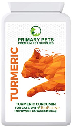 Turmeric for Cats. Pack of 120 500mg Powder Capsules. Joint Supplement for Cats with Bioperine for 10000mg eq Absorbsion