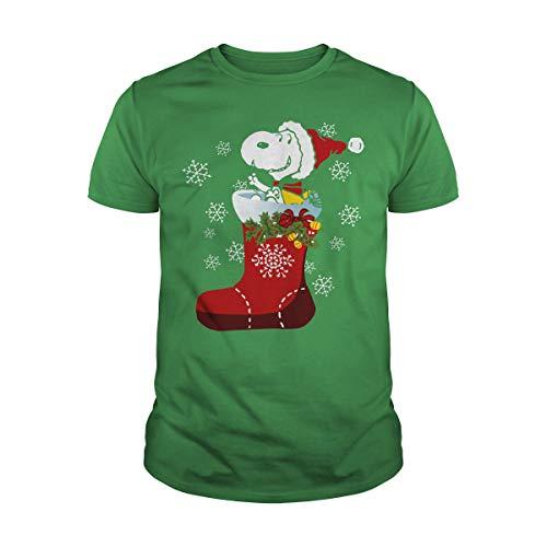 Snoopy en el calcetín rojo regalo de Navidad idea de regalo camiseta