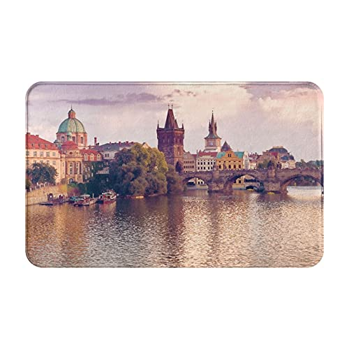 Alfombras de baño Decoración de la habitación, Puente de Carlos y Torres del Casco Antiguo de Praga a orillas del río, Alfombras duraderas y Suaves con Antideslizante