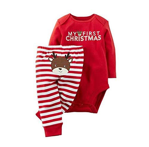 WANGSAURA Neugeborenes Xmas Baby Junge Mädchen Erste Weihnachten Hirsch Weihnachtsmann Strampler + Gestreifte Hosen 2pcs Outfits Set (Weihnachten Hirsch #1, 3-6 Monate)