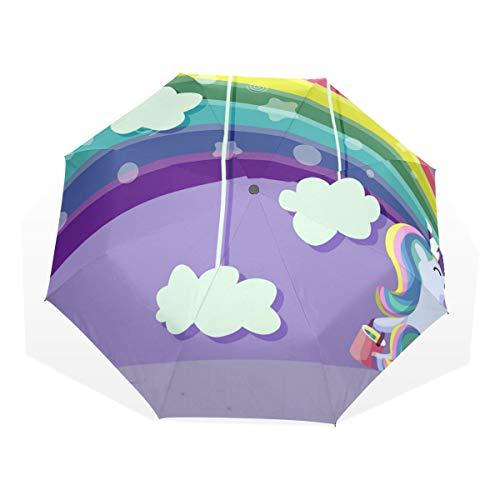 ISAOA Paraguas de Viaje automático, Paraguas Plegable, Arco Iris y Unicornio, Resistente al Viento, Ultraligero, protección UV, Paraguas Compacto, asa para fácil Transporte para Mujeres y Hombres
