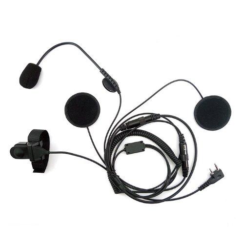 Zeadio Offen/Hälfte Gesicht Motorrad Helm Ohrhörer Headset Mit Mic Mikrofon für 2 pin Kenwood Baofeng PUXING QUANSHENG WEIERWEI WOUXUN Funkgerät