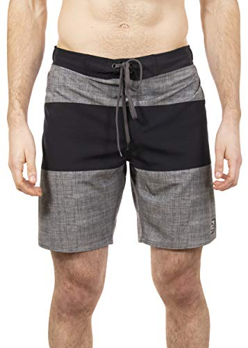 LAGUNA Mens Bahama Breeze Stretch Stripe Boardshorts Swim Trunks, UPF 50+, Charcoal/Black, M