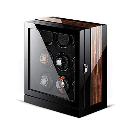 XIUWOUG Caja giratoria para relojes con pantalla táctil, motor japonés silencioso de madera, piano, caja automática con LED elegante (tamaño: 9+0)
