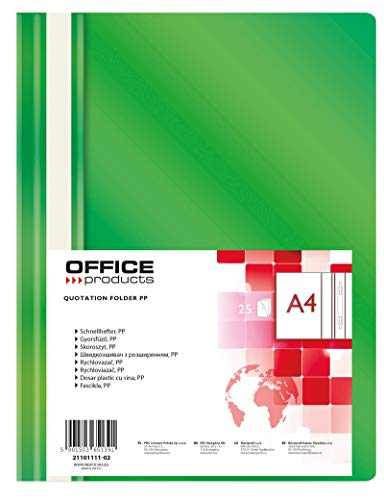 OFFICE PRODUCTS 21101111-02 Plastik Schnellhefter A4 Grün, Sichthefter Kunststoff aus PP-Folie 100/170 μm, mit transparentem Deckel, für Büro und Schule, Fassungsvermögen ca. 250 Blatt