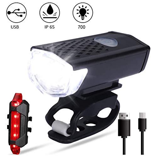 LED Fahrradlicht Fahrradbeleuchtung, IP65 Wasserdicht 3 Leuchtmodi USB Fahrradbeleuchtung Fahrradlampe Frontlicht/Rücklicht für Radfahren und Camping