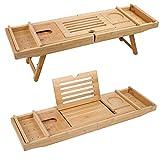 Edaygo 2 in 1 plateau pour table de lit et baignoire Support Laptop, Verre de Vin, bambou,...