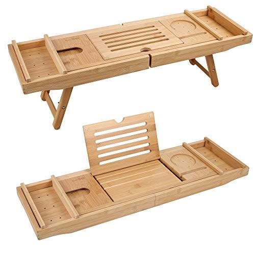 Edaygo 2 in 1 Tablett für Bett u. Badewanne Betttisch, Laptop Ständer, Handy u. Weinglas Halter, Bambus, Ausziehbar, 74,5-110 x 22,5 x 4,5 cm (B x L x H)