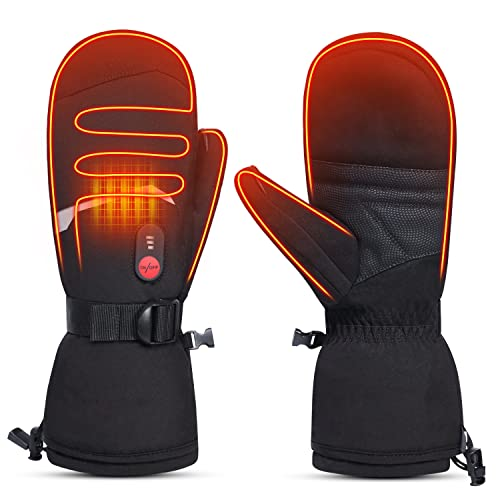 Heated Ski Gloves Men Women Kids Mittens - 7.4V Rechargeable Electric Heated Gloves, Winter Waterproof Outdoor Indoor Battery Powered Hand Warmer for...