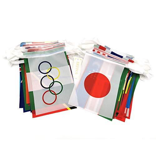Iriwa 万国旗 世界 国旗 100ヶ国 全長25m 日本 日の丸有り 運動会 文化際 オリンピック五輪 フェスティバル 国際交流 装飾 (1組みセット25m)