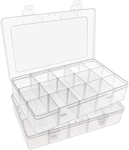 Paquete de 15 compartimentos grandes Caja de almacenamiento paraestuche organizador de plástico transparente para joyería, manualidades yaparejos Contenedor de 15 cinturones con divisores