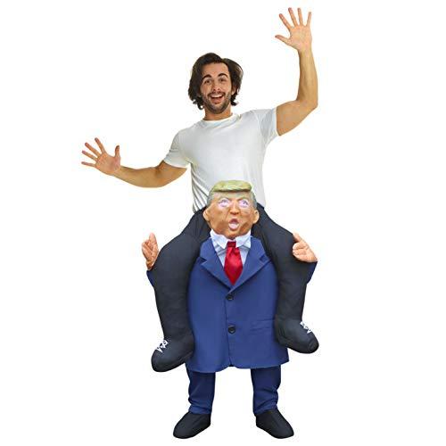 Morph Trump Huckepack Kostüm für Erwachsene, USA Lustiges Faschingskostüm Damen Herren