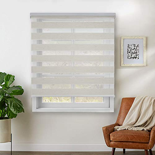 """Rama Rose Dual Layer Sheer Roller Shades Combi Window Blind,Day and Night Blind Curtain,23"""" x 72"""",(Natural Linen)"""