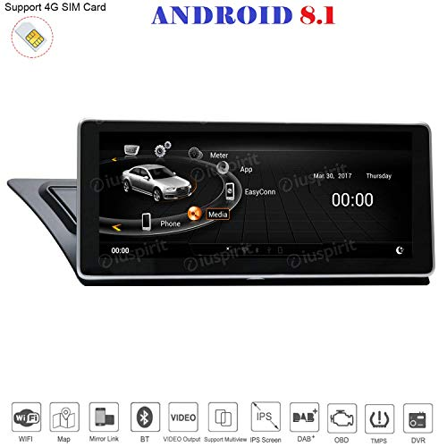 ANDROID 8.1 4G LTE GPS USB DAB+ MirrorLink Bluetooth 10.25 pollici 2GB RAM 32GB ROM navigatore compatibile con Audi A4/A5/S5/RS4/RS5/8K/B8/8T/4L 2009-2016 MMI 3G