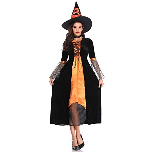 LNC-QQNY Lenceria Sexy Disfraz de Bruja Sexy Cloak Disfraz de Bruja Halloween en Europa y América