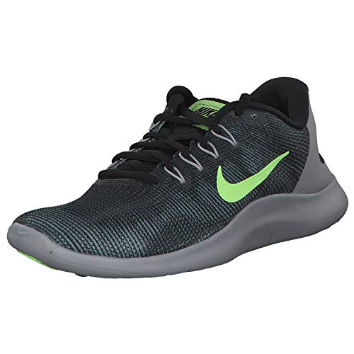 Nike Flex 2018 RN, Zapatillas de Atletismo Hombre, Multicolor (Black/Lime Blast/Cool Grey/Wolf Grey 009), 43 EU