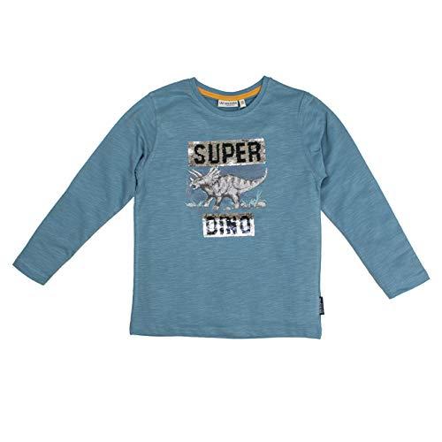 Salt & Pepper Jungen Trouble Maker Super Dino Wendepailletten Langarmshirt, Blau (Iced Blue Melange 433), 104 (Herstellergröße: 104/110)