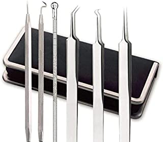 Blackhead Remover Kit 6pcs/set Hygienic Comedone Extractor Stainless Steel Tools for Spots, Pimples, Acne or Blemishes on Skin