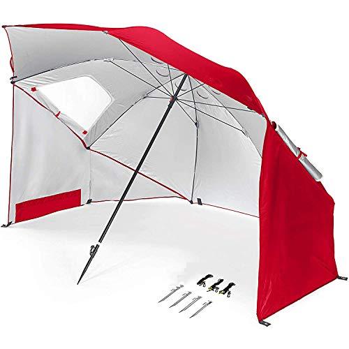 MYPNB Beach Gazebo, Gazebo 2.4m (7.8ft) Pieghevole Parasole Tenda con Incorporato Ribaltabile in Alluminio Parasol Portatile Tenda della Spiaggia Antivento Parasole for Piscina Spiaggia
