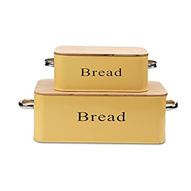 Yellow Vintage X559 Set of 2 Metal kitchen Storage Tin Canister/Home Gifts/Bread box/Bin/Container With Bamboo Lid