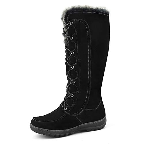 Comfy Moda Tall Snow Boots for Women, Insulated Winter Boots Warm Suede Leather Black 8(M) US Warsaw