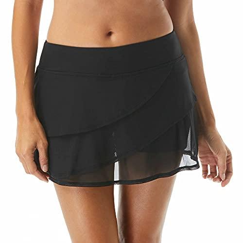 Coco Reef Mesh Layer Swim Skort — Wide Waistband, Tiered Swim Skirt, Attached Boy Shorts, Black, Medium