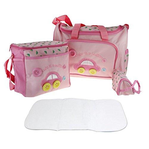 Lot 4pcs Sac à Langer Multifonctionnel Bébé Sac de Biberon pour Maman Maternity Promenade Voyage - Rose