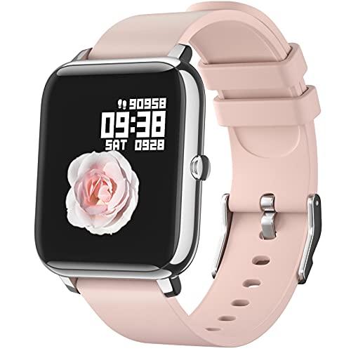 Smartwatch, IDEALROYAL Smart Watch Fitness Tracker Monitor de frecuencia cardíaca a prueba de agua, Monitor de sueño, Reloj Hombres Mujeres Bluetooth Música Control de cámara Android iOS (Rosa)