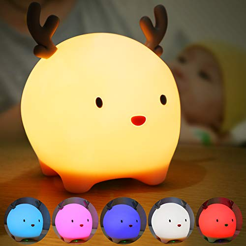 Luz Nocturna Infantil, Luz Quitamiedos Bebé, Lámpara Infantil LED Silicona USB Recargable...