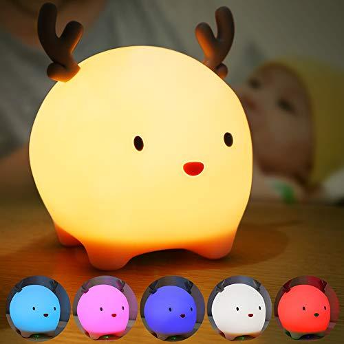 Luz Nocturna Infantil, Luz Quitamiedos Bebé, Lámpara Infantil LED Silicona USB Recargable Ciervo, 6 Color Cambiante/Control Tátil para Niños (Rosado)