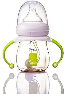 Umee 荷兰婴儿奶瓶 新生儿奶瓶 PPSU?#36864;?#23485;口径奶瓶 高温防胀气吸管重力球带手柄 (浅黄色160ml)