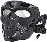 Kayheng Masques Tactiques de crâne d'airsoft, Plein Visage, Masque de Luxe de Luxe Protection des Yeux pour Halloween Pistolet Paintball Pirates Patriots Jeu CS