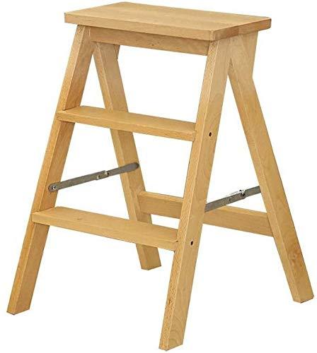 DNSJB - Taburete de escalera plegable multifuncional con 3 niveles para escaleras, de madera maciza, para interior y móvil, escalera pequeña (color: madera original)