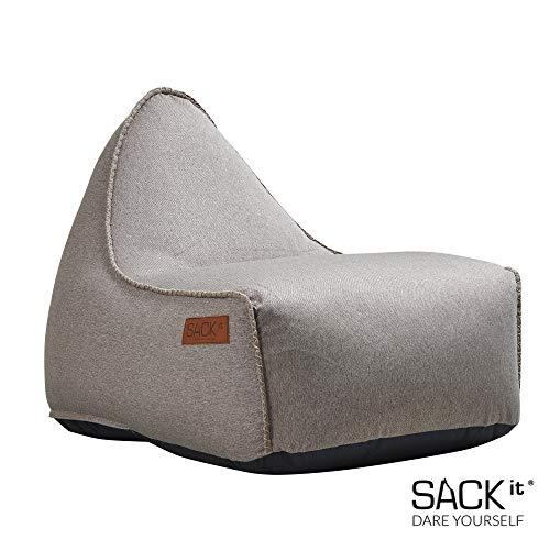 SACKit - RETROit Canvas - Indoor Sitzsack mit Lehne und Füllung mit EPS Kugeln für eine optimalen Sitzkomfort - Großer Sitzsacke für Erwachsene (Sand)