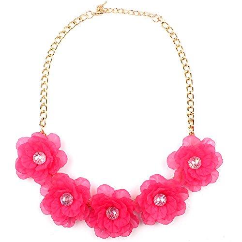 Claire Jin Acrílico Collar Flores Joyería Mujer Niña Moda Verano Playa Cinco Flor Collares Joven Accesorios Mujeres 8 Colores (Fucsia)