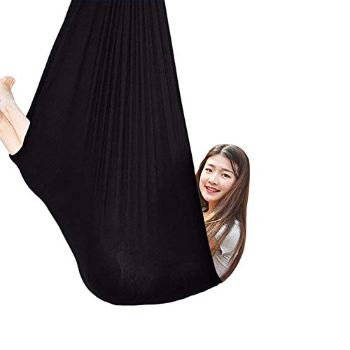 Therapy Swing for Adults, Cuddle Hammock Indoor Adjustable Aerial Yoga, Cacoon for Children with Autism ADHD and Aspergers (Color : Black, Size : 150x280cm/59x110in)