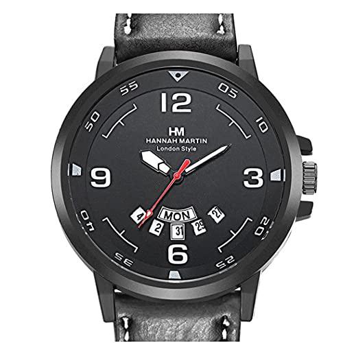 Liadance Reloj de Calendario Deportivo de Hombres Reloj de Cuarzo analógico con Brazo de Cuero Reloj de Pulsera Resistente al Agua
