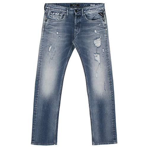 Replay, Newbill, Herren Jeans Hose, Stretchdenim, lightblue Destroyed, W 32 L 36 [21799]