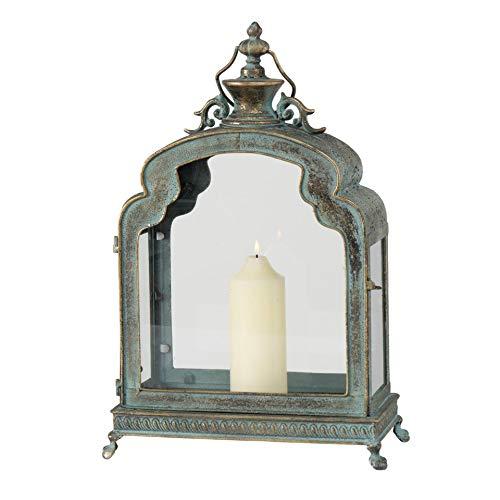 CasaJame Laterne Antik Gold grün, Dekolaterne Metall, Windlicht Vintage, Kerzenhalter, Metalllaterne 52x35x18 cm