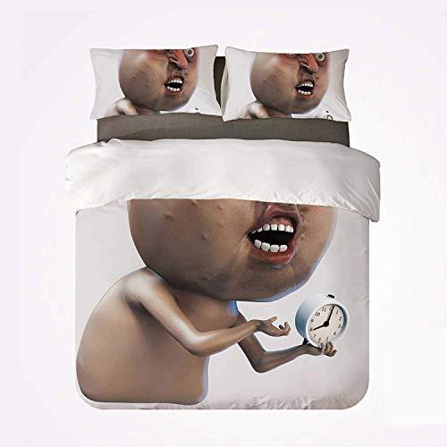 Juego de Funda nórdica Humor Decor Juego de Cama Suave de 3 Piezas, por qué no me despiertas Meme de Internet con la Cara de sueño excesivo y la Imagen del Reloj para el Dormitorio